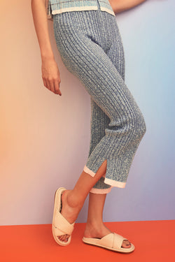 Romy Tweed Rib Pant in Navy *WAITLIST OPTION AVAILABLE*