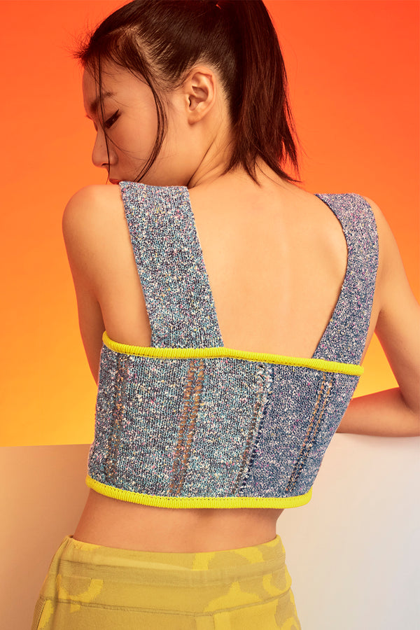 Tweedle Crop Top in Blue/Navy Tweed