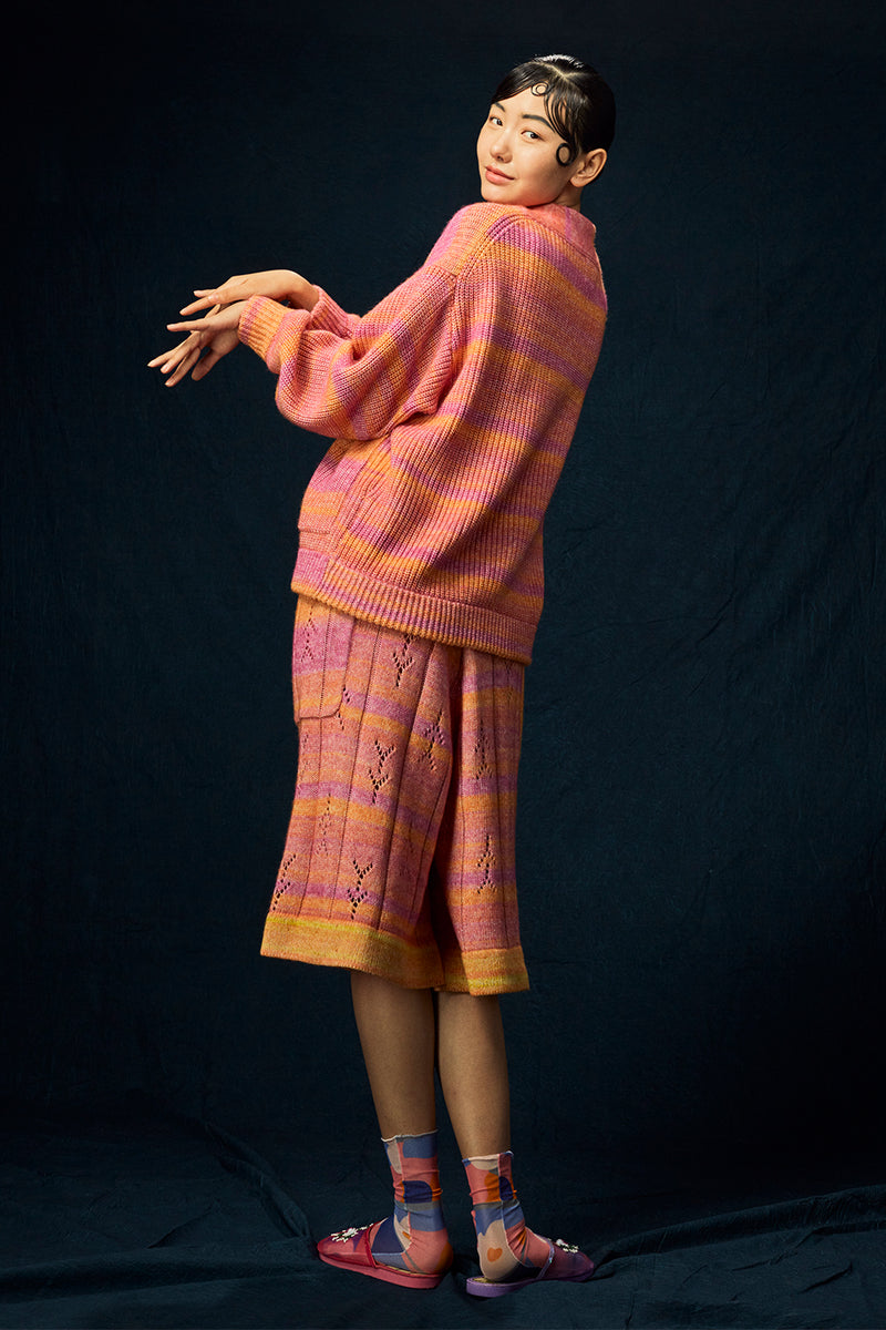 Recycled Cashmere Shawl Cardigan in Pink Spacedye