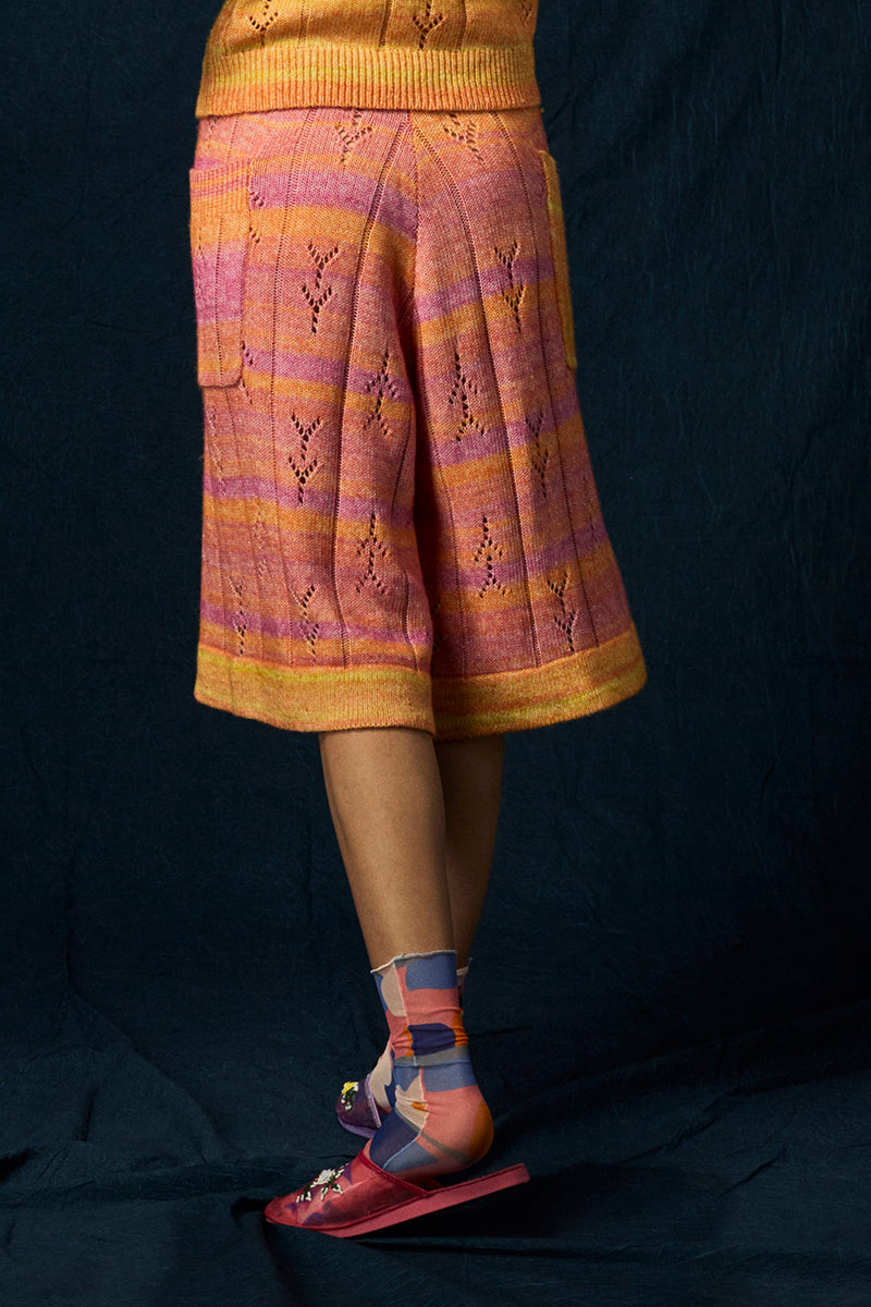 Recycled Cashmere Culotte in Pink Spacedye