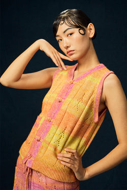 Recycled Cashmere Shrunken Waistcoat in Yellow Spacedye