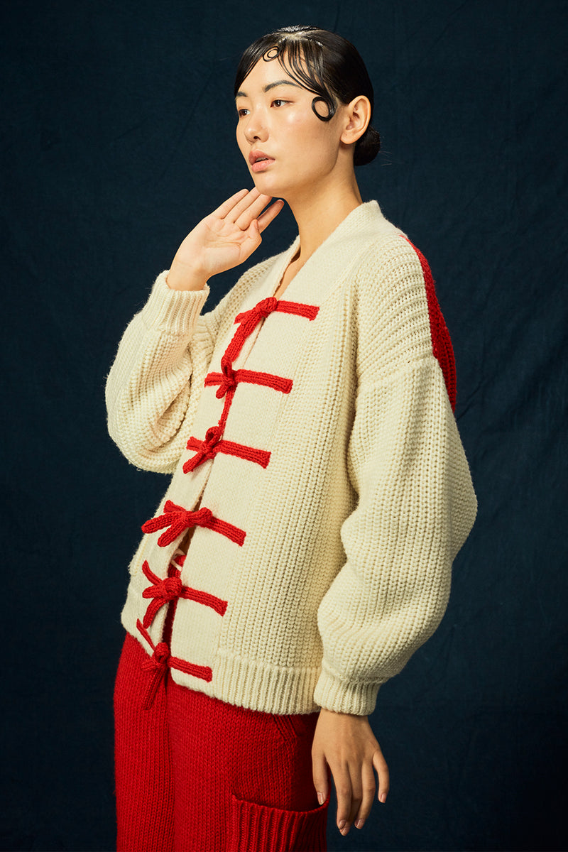 Frosty Shawl Cardigan in Ivory Merino
