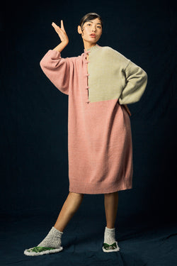 Recycled Cashmere Oversized Dress in Lilac and Grey