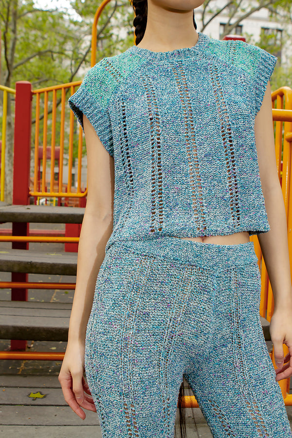 Cotton Tweed Vest (Blue)