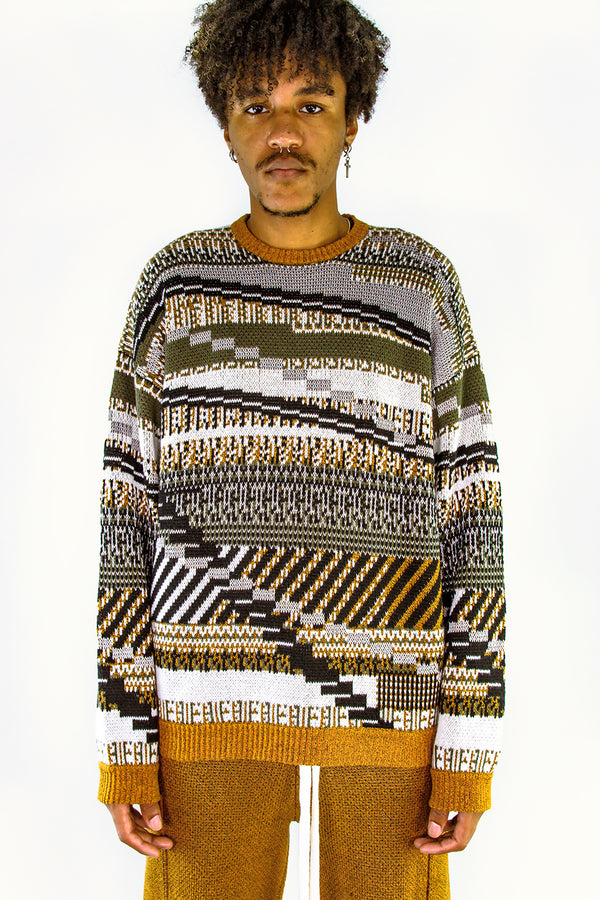 TKCXYY GLITCH-isle Tweed Pullover in Army