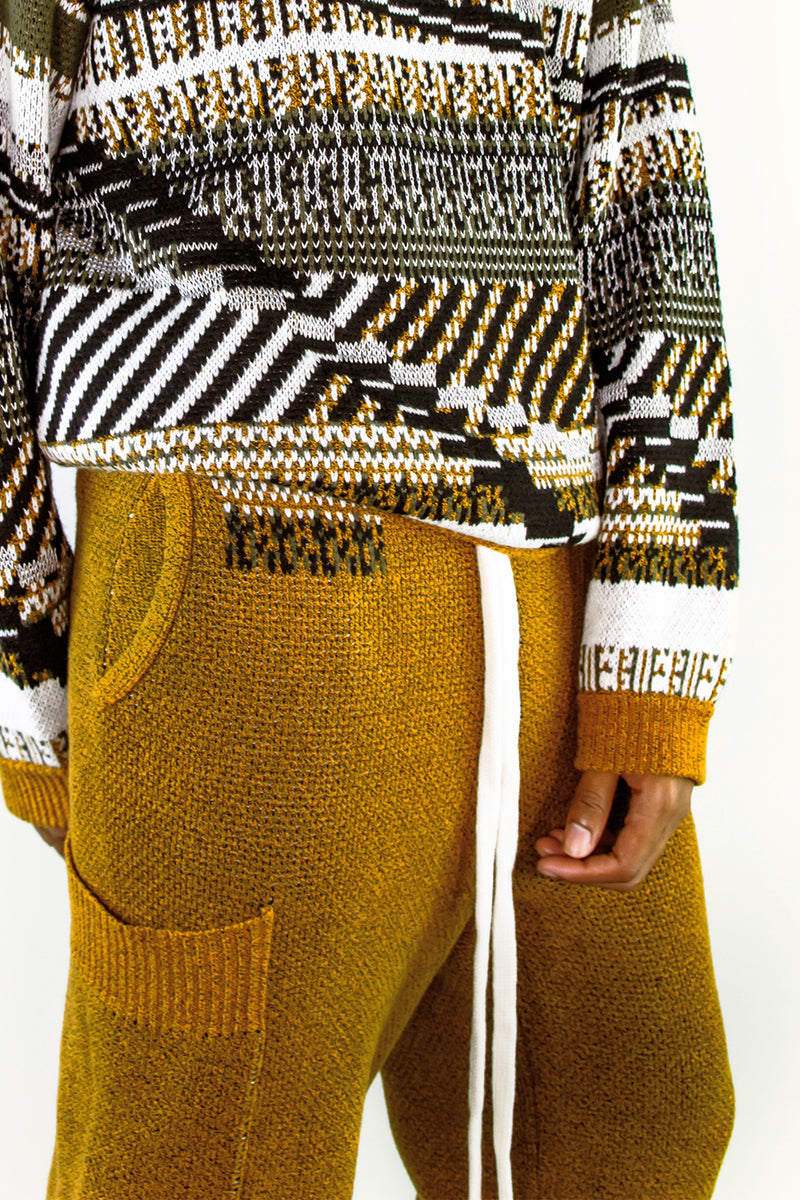 TKCXYY Glitch Tweed Sweatpant in Ochre