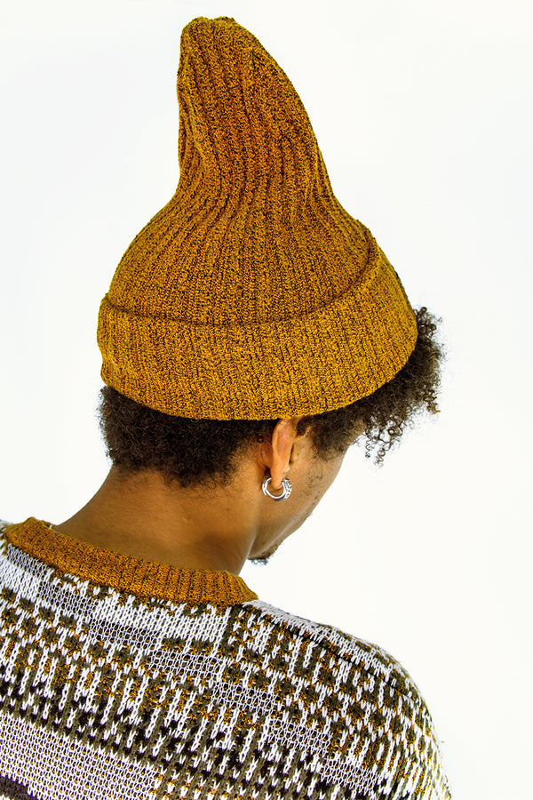TKC Glitch Cotton Tweed Beanie in Ochre