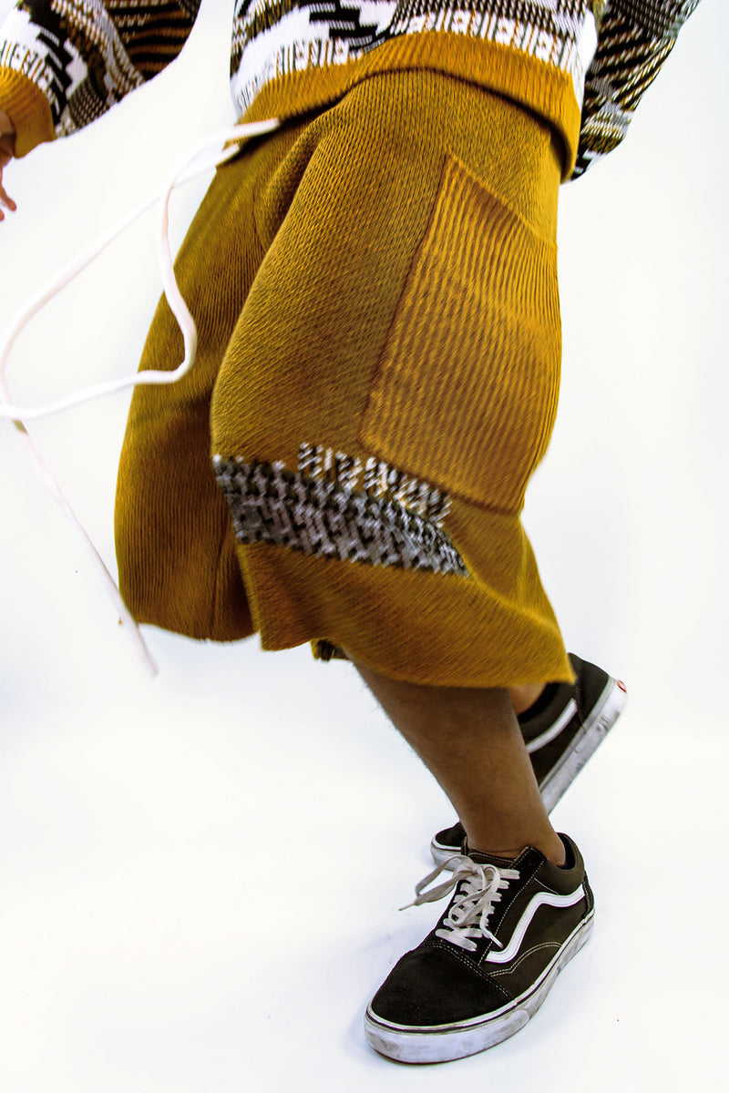 TKCXYY Glitch Tweed Short in Ochre