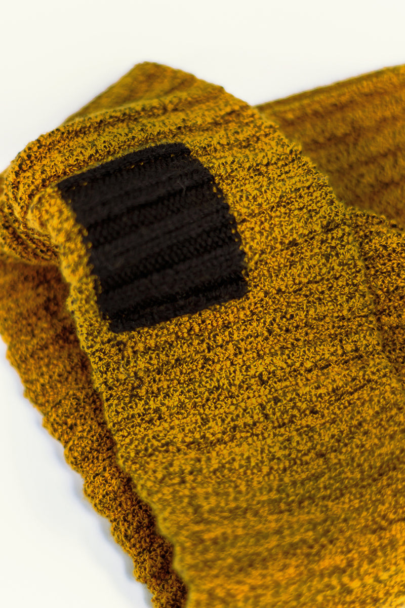 TKCXYY Glitch Cotton Tweed Beanie in Ochre