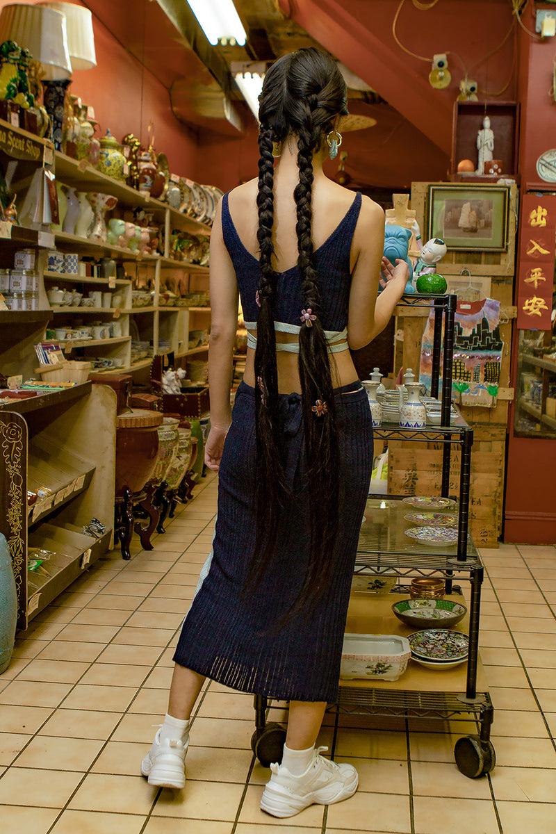 Linen Rib Wrap Skirt (Midnight)