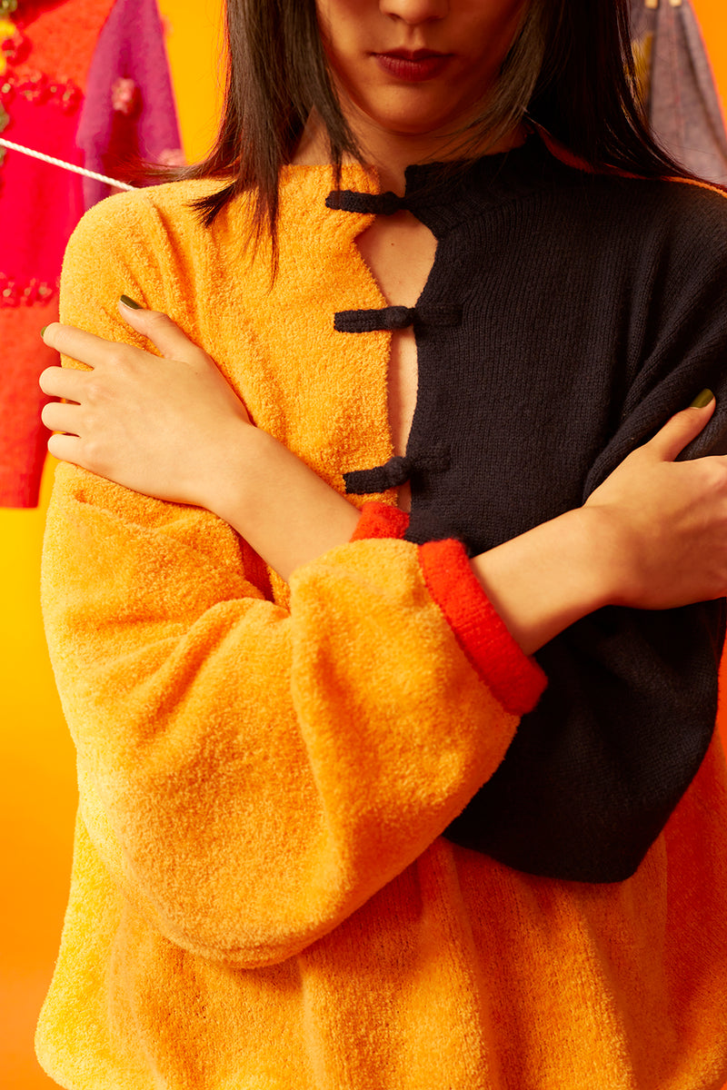 Wah Colorblock Oversized Pullover in Tangerine