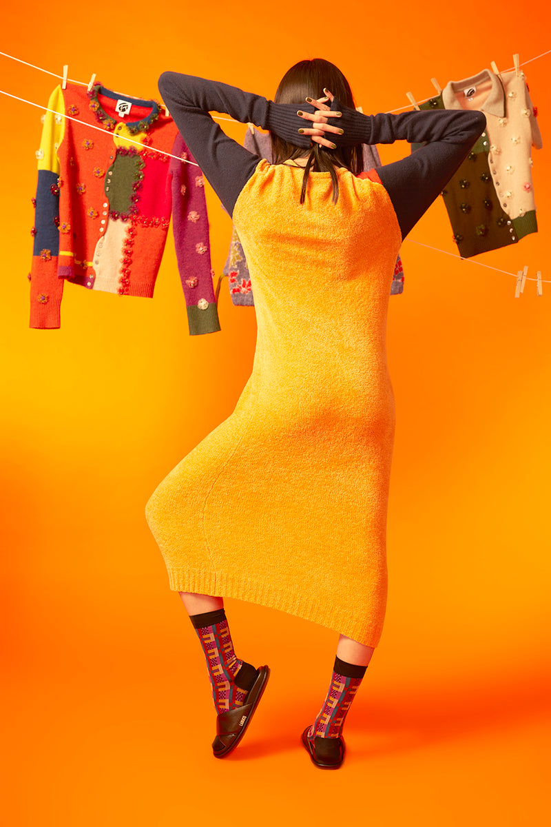 Wah Colorblock Maxi Cardigan in Tangerine