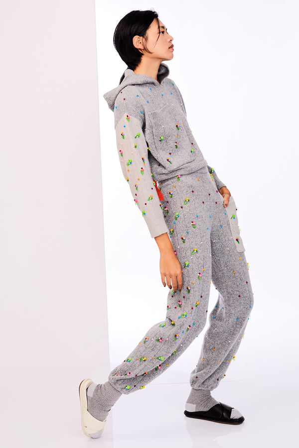 Rosie (Rosebud) Sweatpant in Melange Grey Lambswool