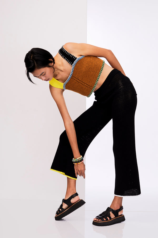 Tweedle Crop Top in Ochre Tweed