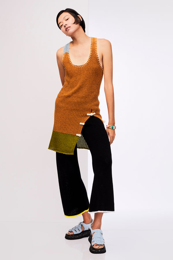 Tweedle X-back Tunic in Ochre Tweed