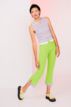 Mabo Rib Pant in Lime Linen