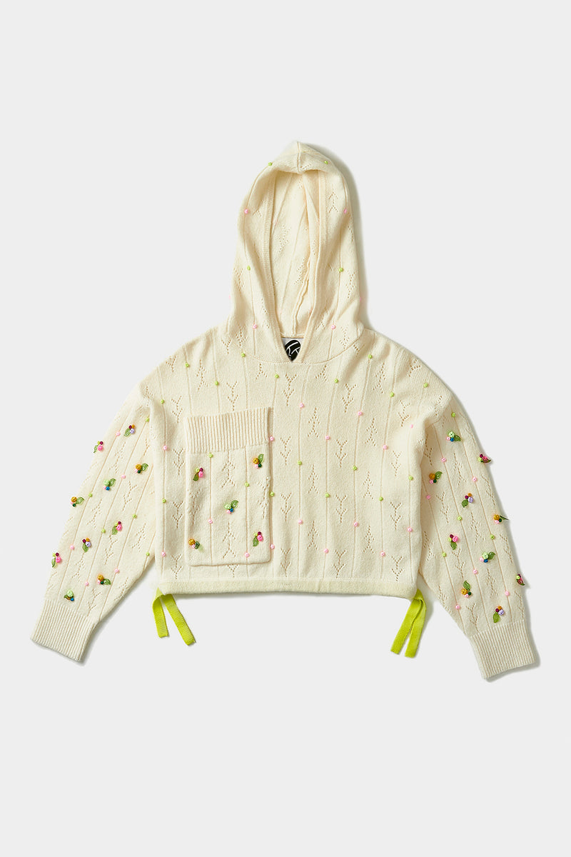 Rosebud Hoody in Ice White Lambswool