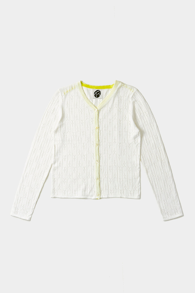 Holey Shrunken Cardigan in Ivory Cotton Cashmere