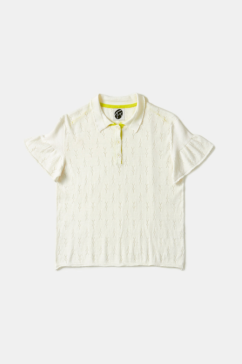Holey Short Sleeve Polo in Ivory Cotton Cashmere