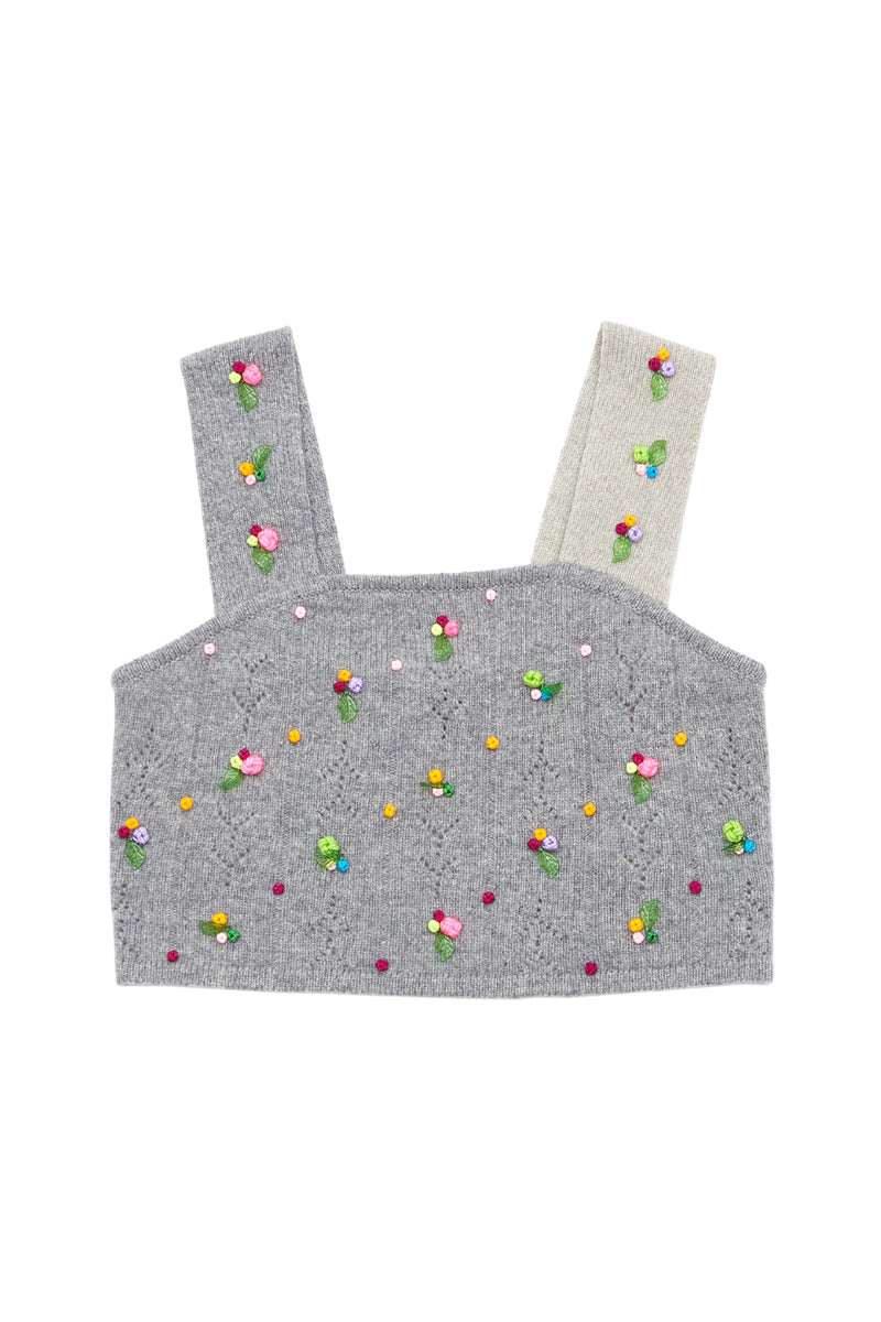 Rosie (Rosebud) Crop Top in Melange Grey Lambswool