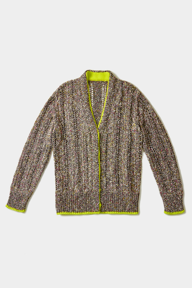 Tweedle Very Oversized Grandpa Cardigan in Black Tweed