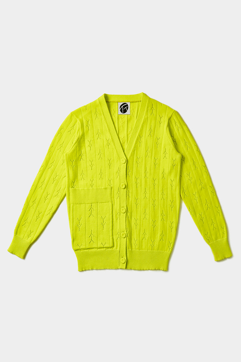 Holey Grandpa Cardigan in Sprout Yellow