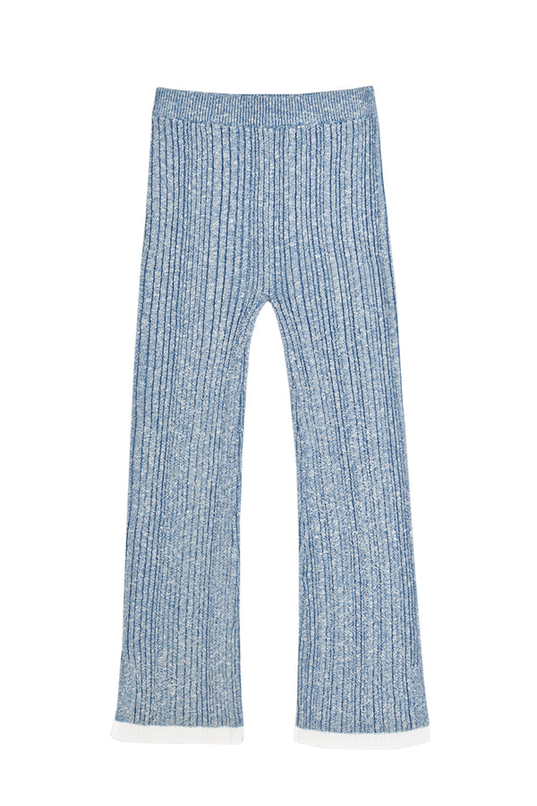 Romy Tweed Rib Pant in Navy