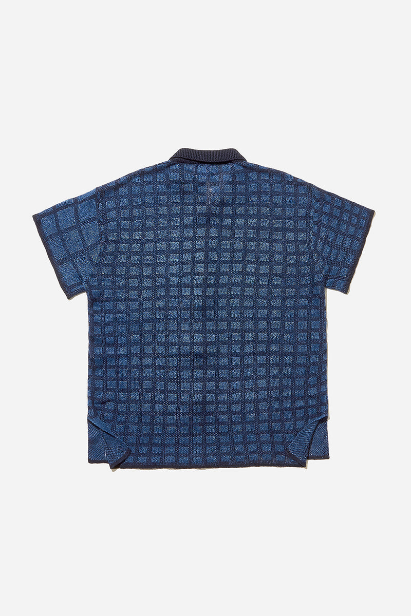Linen Check Short Sleeve Shirt (Indigo)