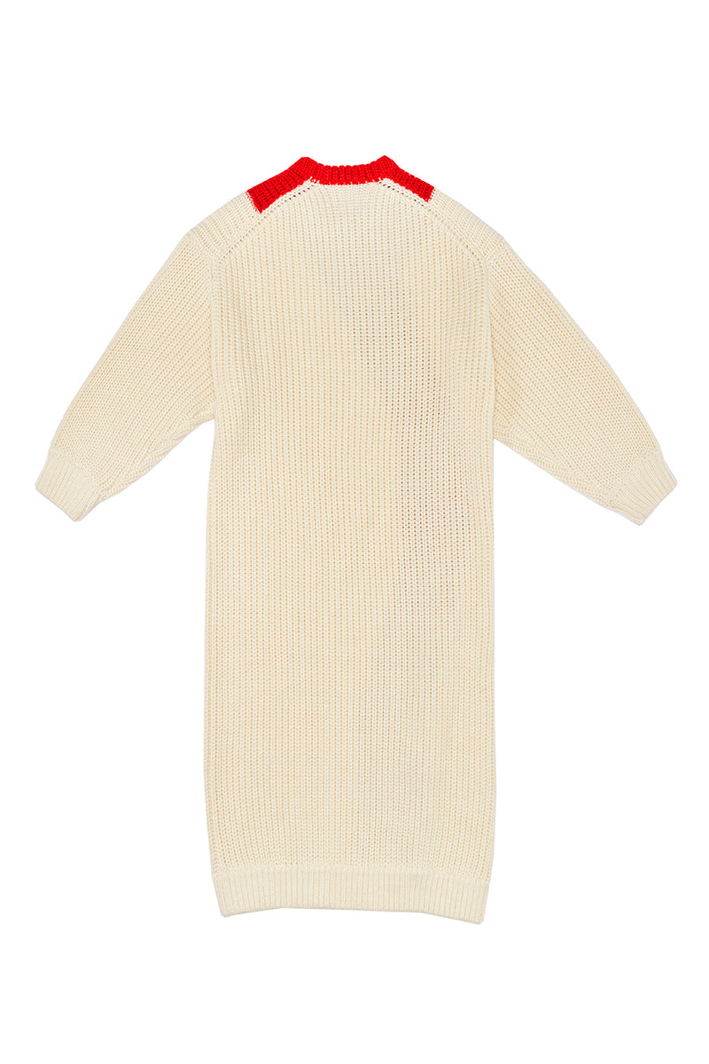 *MADE TO ORDER* Frosty Intarsia Dress in Ivory Merino