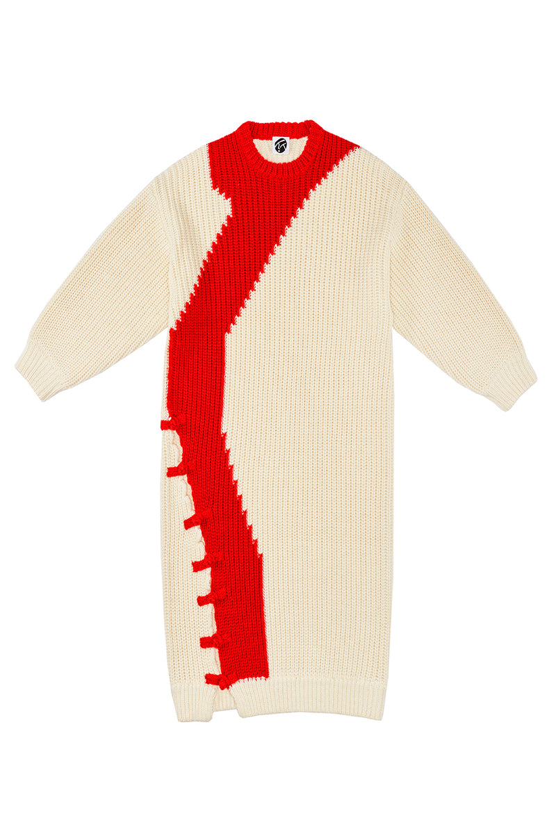 Frosty Intarsia Dress in Ivory Merino