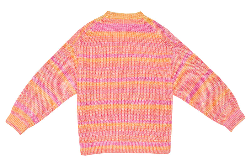 Recycled Cashmere Crew in Pink Spacedye