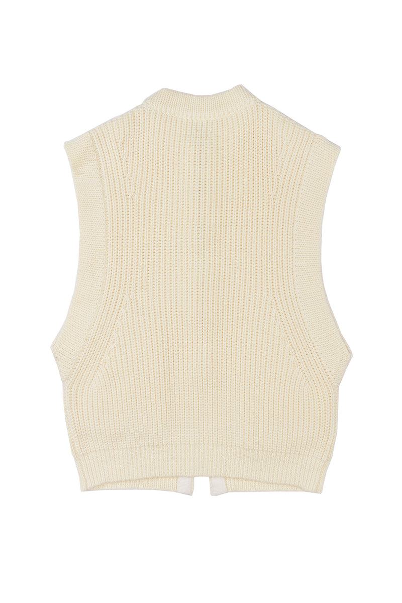 *MADE TO ORDER* Super Frosty Oversized Vest in Ivory Merino
