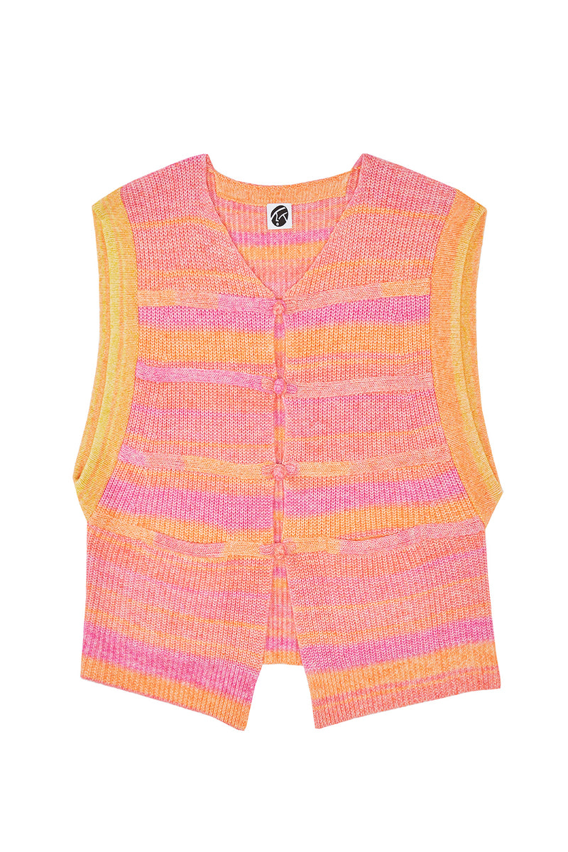 Recycled Cashmere Giant Vest in Pink Spacedye