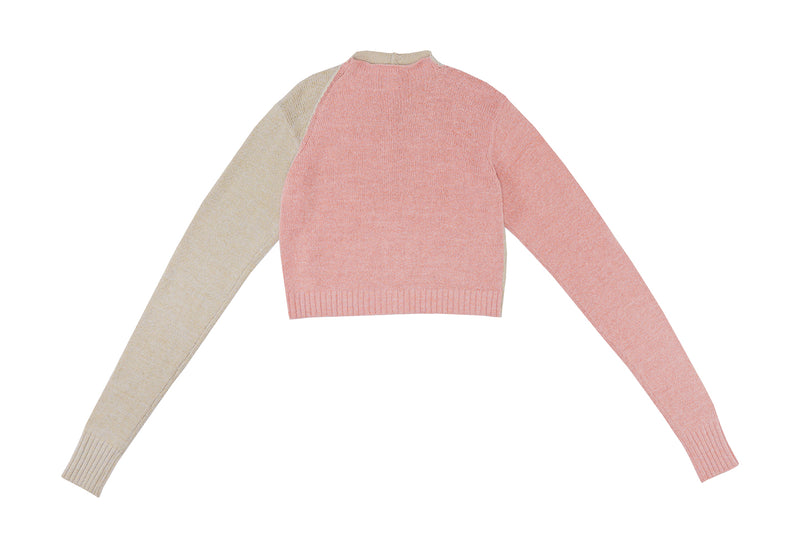 Recycled Cashmere Crop Cardigan in Lilac and Grey