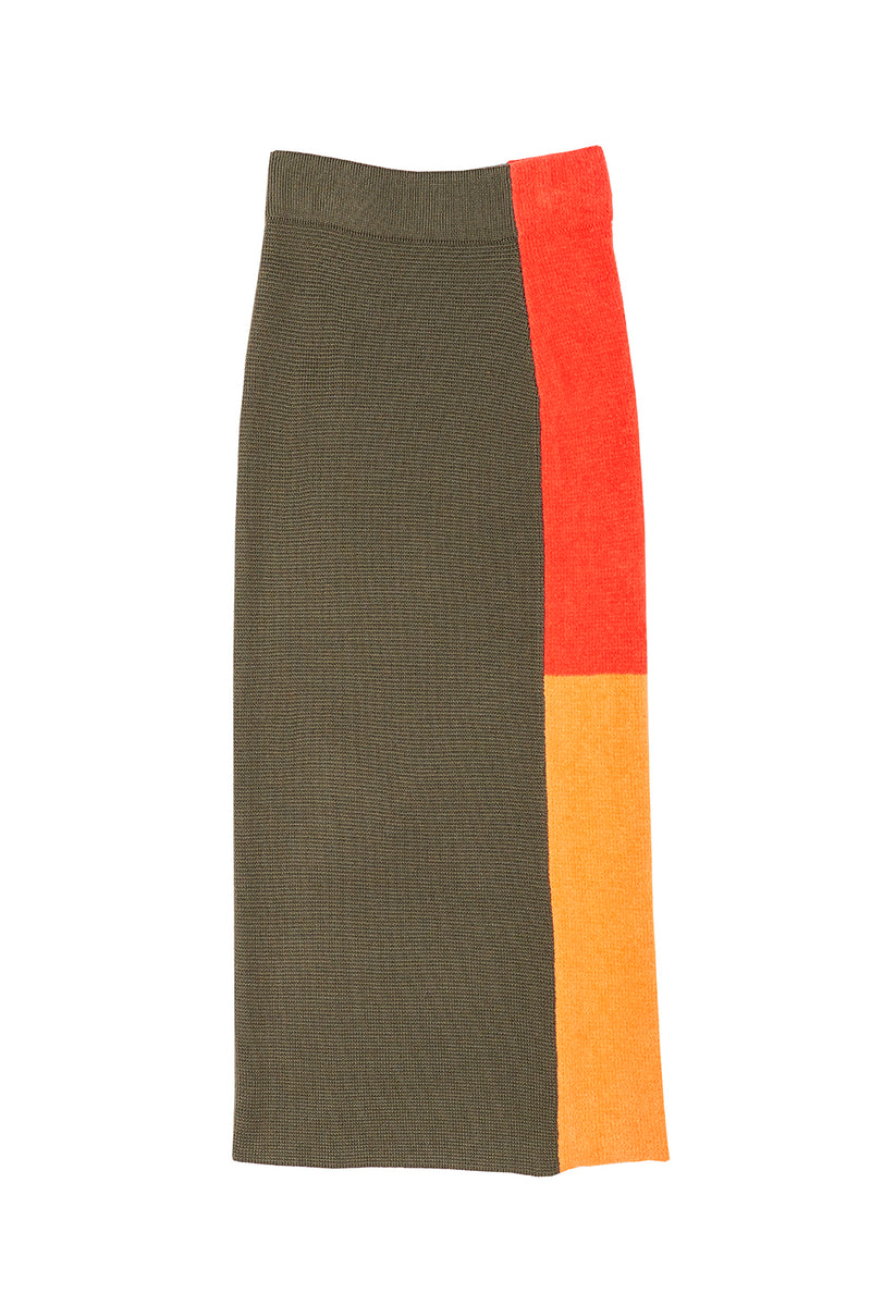 Wah Colorblock Maxi Skirt in Olive