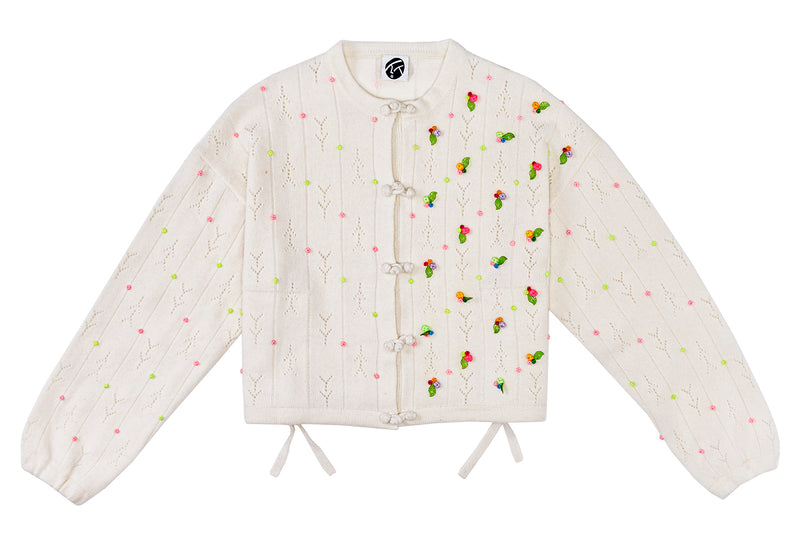 Rosie (Rosebud) Kungfu Jacket in Ice White Lambswool *JUST RESTOCKED!*