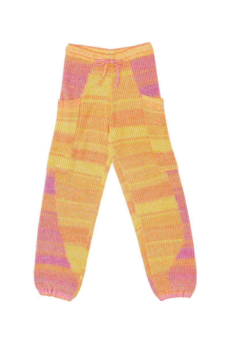 Recycled Cashmere Sweatpants in Yellow Spacedye