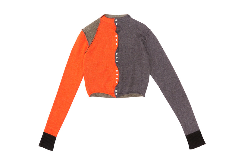 Momo Colorblock Crop Cardigan in Charcoal