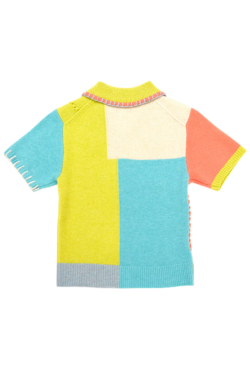 Sunblock Short Sleeve Cardigan in Colorblock Lambswool