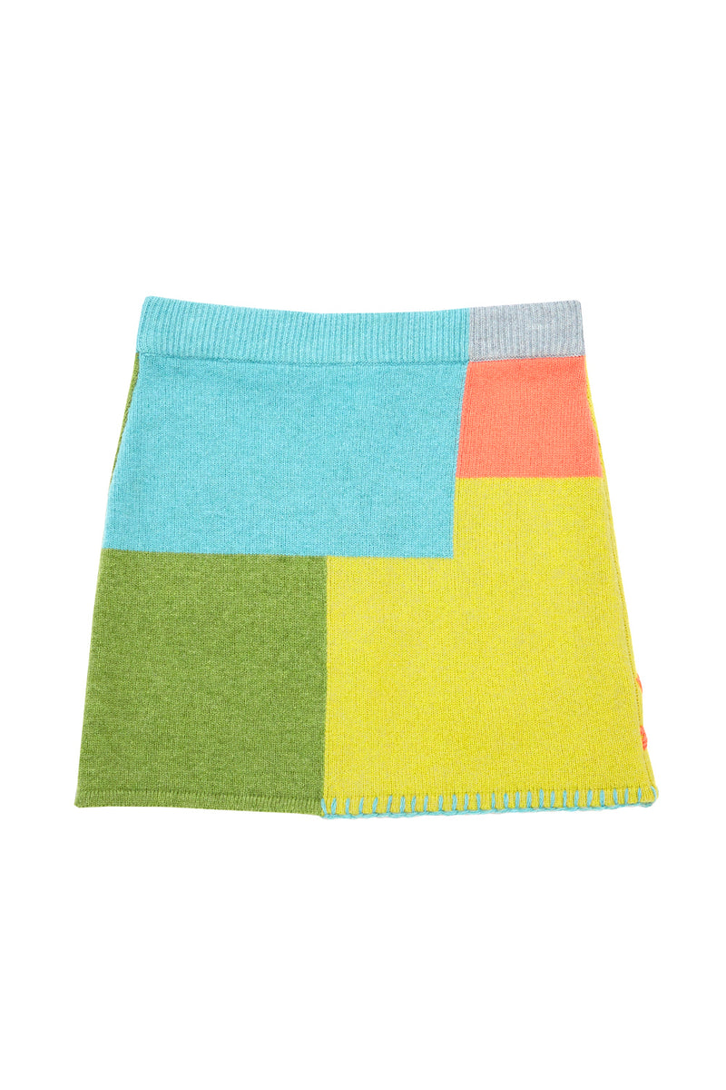 Sunblock Mini Skirt in Colorblock Lambswool