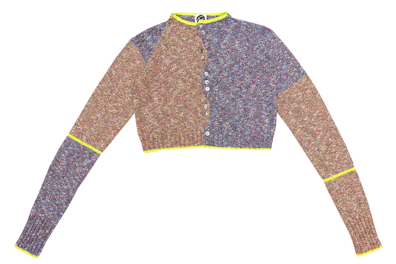 Tweedle Extra Long Sleeve Cardigan in Brown/Blue Tweed