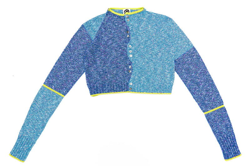 Tweedle Extra Long Sleeve Cardigan in Blue/Navy Tweed *RESTOCKED!!*