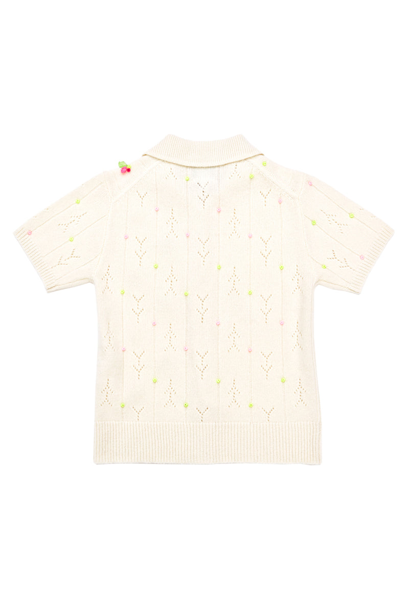 Rosie (Rosebud) Short Sleeve Cardigan in Ice White Lambswool