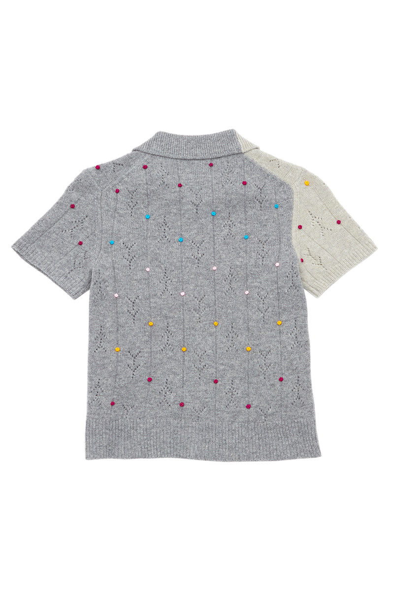 Rosie (Rosebud) Short Sleeve Cardigan in Melange Grey Lambswool