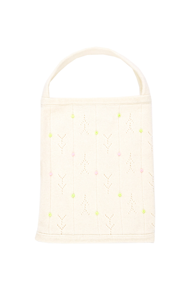 Rosie (Rosebud) Tote in Ice White Lambswool