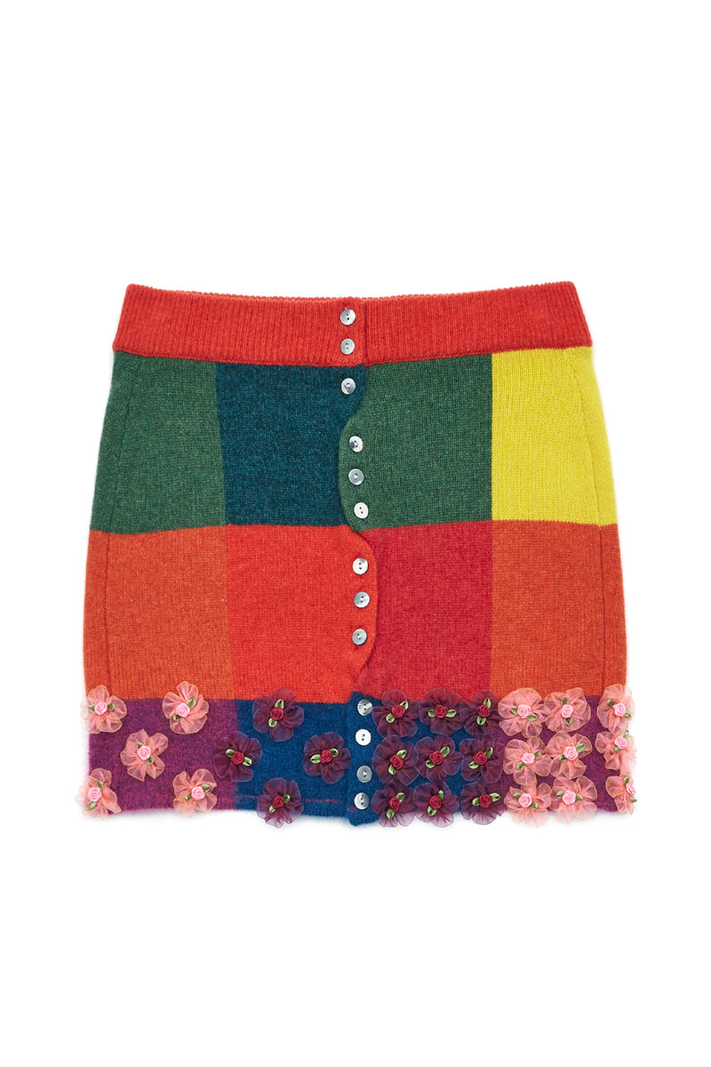 Checked Mini Skirt in Tomato Lambswool