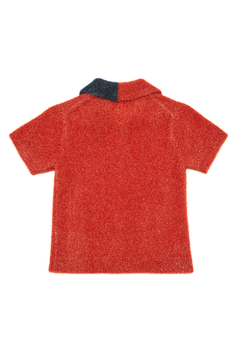 Tinsel Short Sleeve Cardigan in Sparkly Persimmon