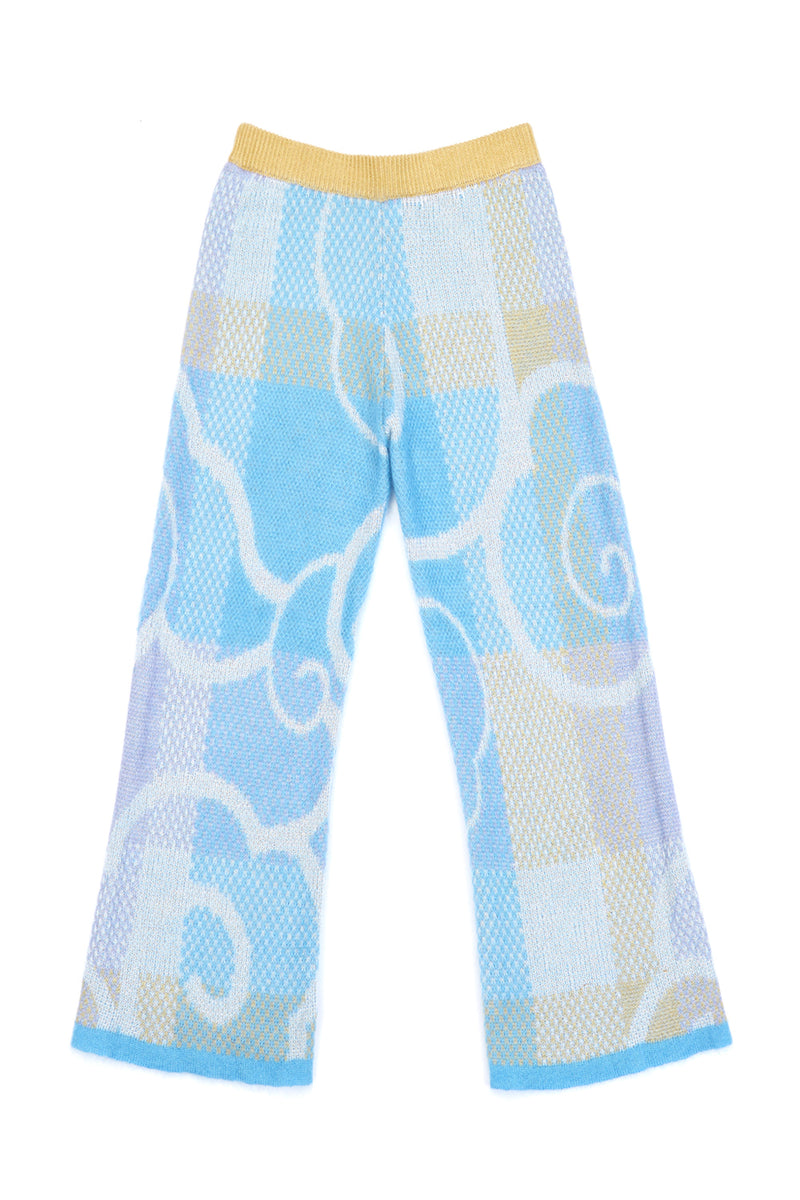 Fuzzy Cloud Trouser in Dusty Blue Mohair