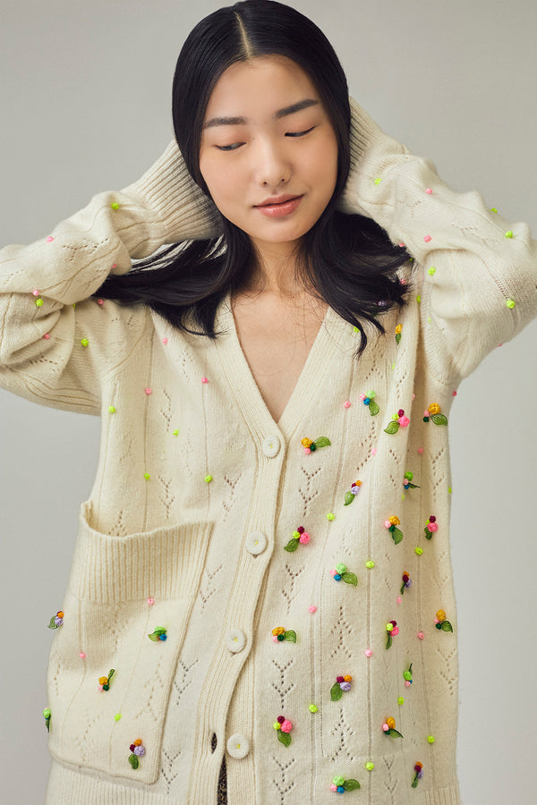 *RESTOCK!* Rosebud Grandpa Cardigan in Ice White Lambswool
