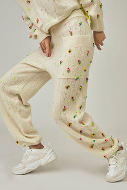 Rosie (Rosebud) Sweatpant in Ice White Lambswool